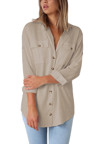Model poses wearing khaki long cuffed sleeves lapel button-up blouse