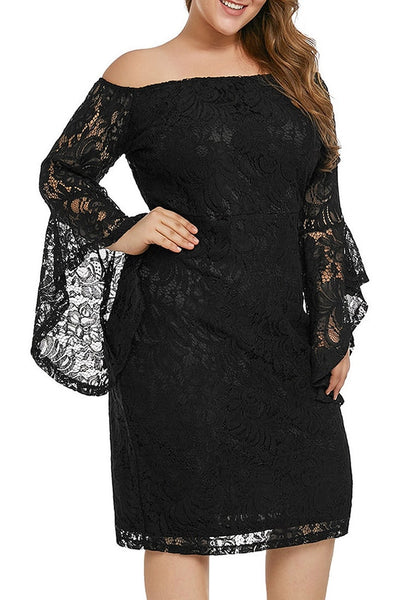 Right angled shot of model wearing plus size black trumpet sleeves lace off-shoulder pencil dress