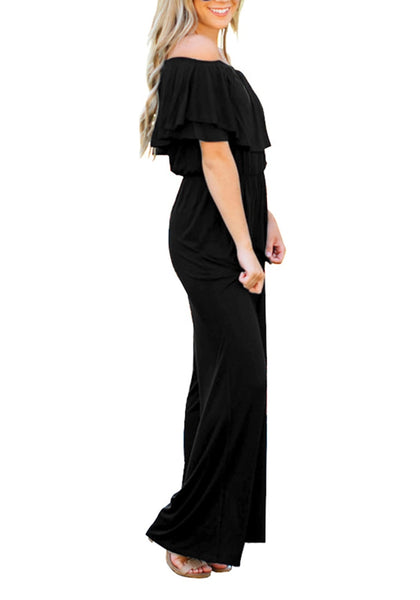 Side view of model wearing black ruffled off-shoulder jumpsuit