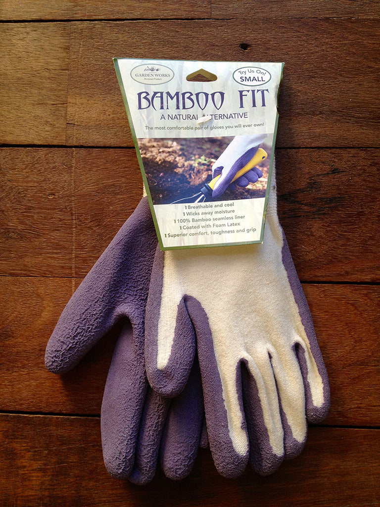 100% bamboo fibre sustainable gardening gloves in purple