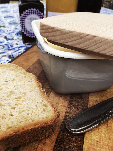 Enamel Butter Dish with Beech Wood Lid