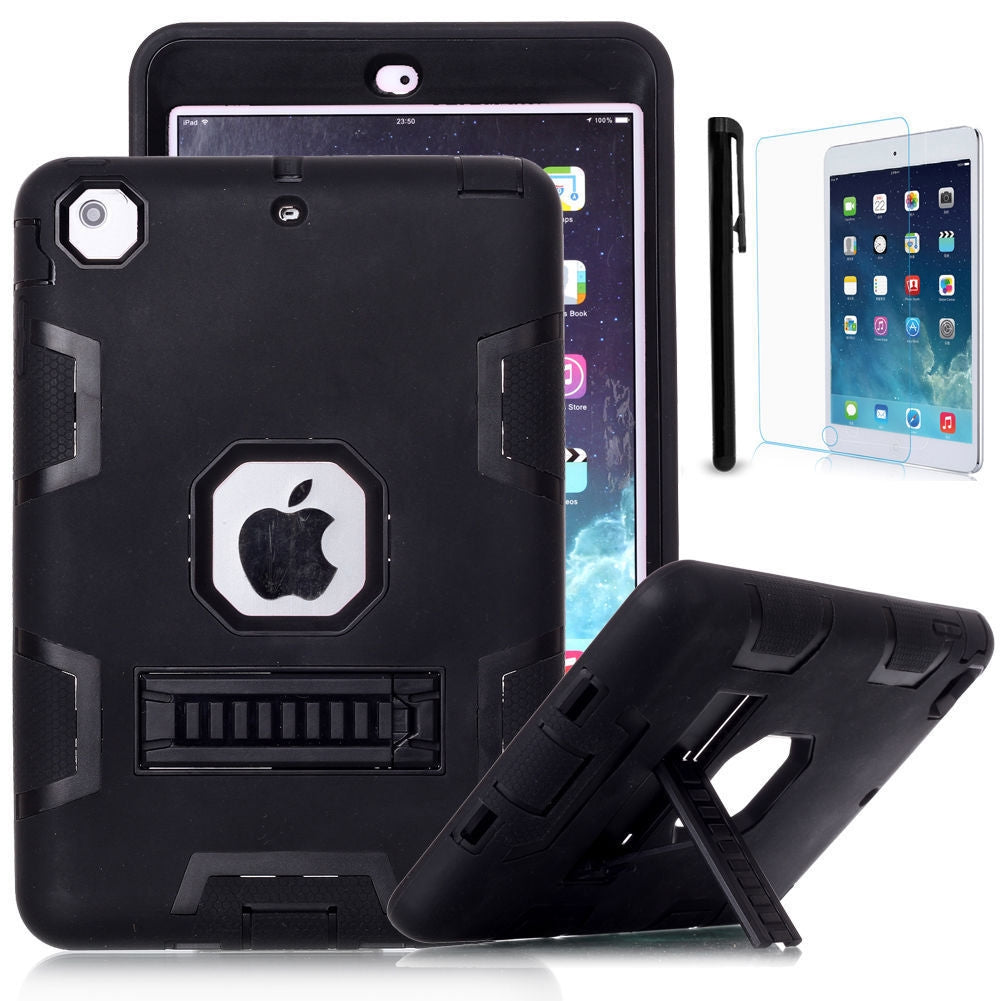 Shockproof Heavy Duty Rubber With Hard Stand Case Cover For iPad Mini 4