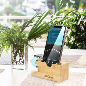 Bamboo Wood Charging Dock Charge Station Stock Cradle Holder for Apple Watch & iPhone