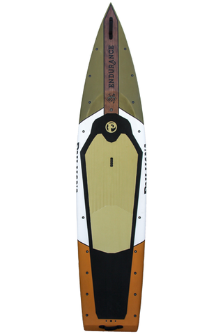 "Pau Hana Surf Supply 12'0"" Endurance Stand Up Paddle Board (Colors: Matte Olive Brown, White, & Burnt Orange) (Front View)"