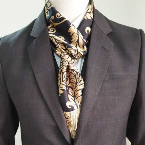 Royal Black n Gold Leaf Scarf