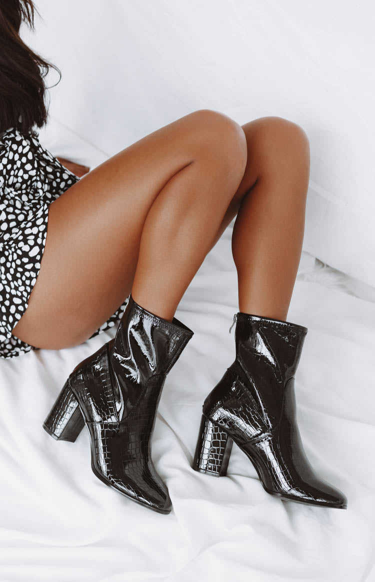 Therapy Hoxton Heeled Boots Black Croc