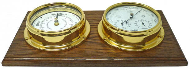 Handmade Solid Brass Tide Clock and Barometer with Built in Hygrometer and Thermometer Mounted on a Double English Oak Mount