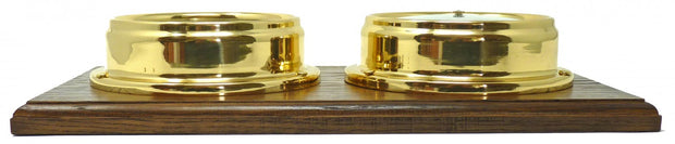 Handmade Solid Brass Thermometer and Barometer Mounted on a Double English Oak Mount