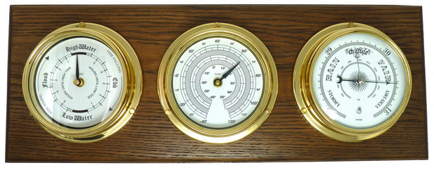 Handmade Brass Tide Clock, Barometer and Thermometer Mounted On An English Oak Mount