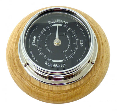 Handmade Prestige Tide Clock in Chrome on an English Oak mount