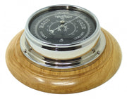 Handmade Prestige Barometer in Chrome with Jet Black Dial Mounted on an English Oak mount