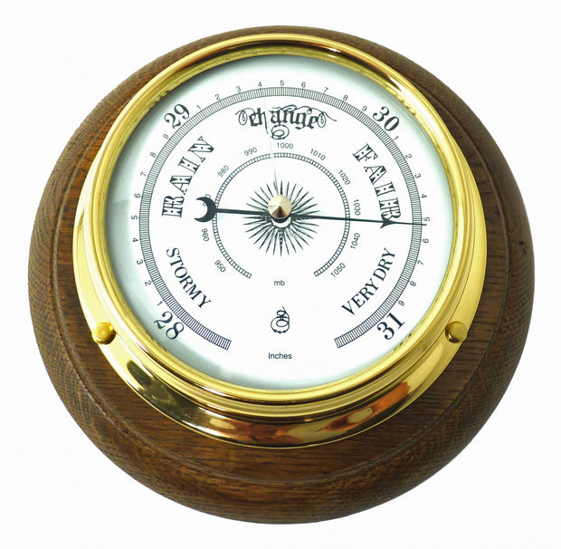 Handmade Solid Brass Traditional Barometer Mounted on an English Oak Mount
