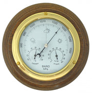 Handmade Solid Brass Barometer/Thermometer/Hygrometer on an English Oak Mount