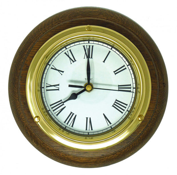 Handmade Solid Brass Roman Clock Mounted on an English Oak Mount