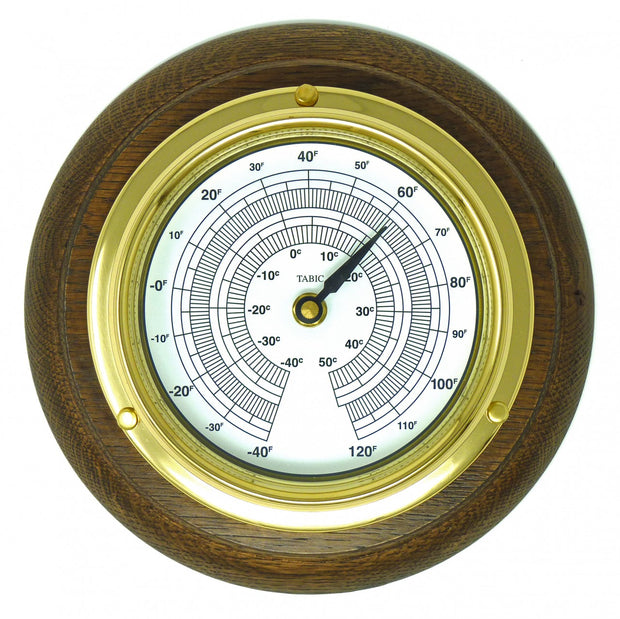 Handmade Solid Brass Thermometer on an English Oak Mount
