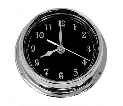 Handmade Prestige Arabic Clock in Chrome with A Jet Black Dial created with a mirrored backdrop