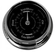 Handmade Prestige Tide Clock in Chrome With A Jet Black Dial created with a mirrored backdrop