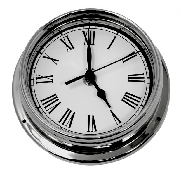Handmade Roman Numeral Clock in Chrome With White Dial