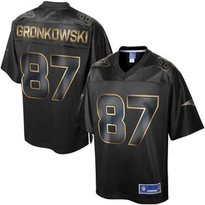 Men's New England Patriots Rob Gronkowski NFL Pro Line Black Gold Collection Jersey