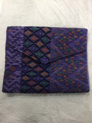 Huipil envelope clutch small purple