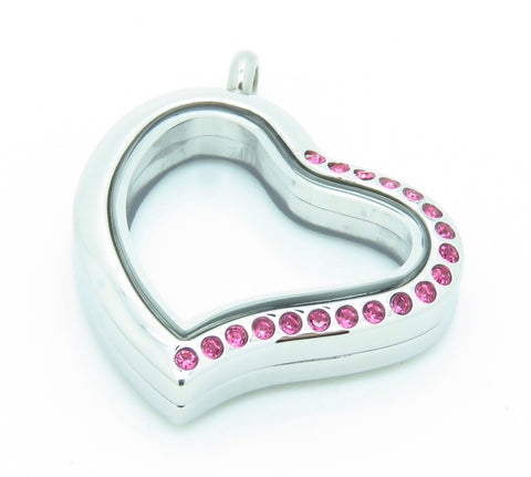 Crystal Heart Locket With Pink - Stoney Creek Charms - 2