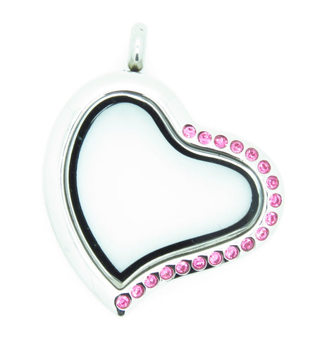 Crystal Heart Locket With Pink - Stoney Creek Charms - 1