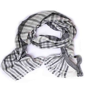 Winter Essential Cashmere Blend Stole - Grey Checks
