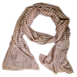 Winter Essential Cashmere Blend Stole - Beige Checks