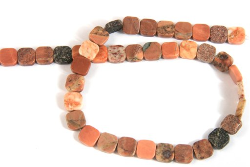 African Picasso Jasper, 10mm, Flat Square Shape Beads