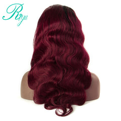 #1B/99J Ombre Body Wave Peruvian Remy Lace Frontal Human Hair Wig