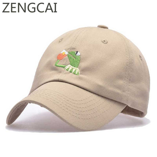 Frog Tea Embroidery Baseball Cap