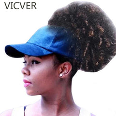 Natural Hair Puff Snapback Cap