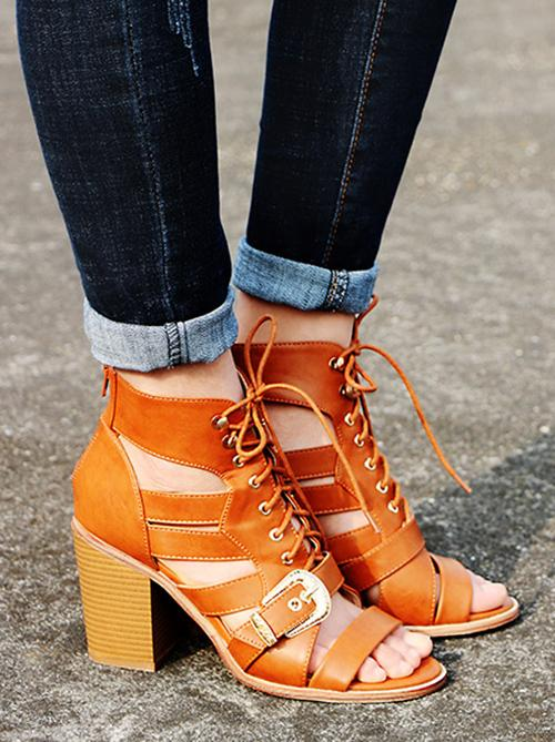 Fashion Hollow Buckle Chunky Mid Heels