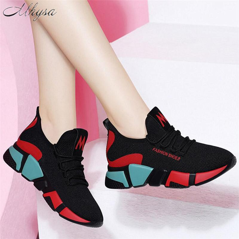 2019 Spring Women Fashion Mesh Lace-up Sneakers Vulcanized Shoes