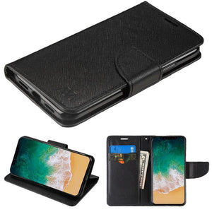 Premium 2 Tone Leather Folding Wallet iPhone X / Xs Case - Black/Black - MPC - MyPhoneCase.com