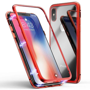 Magnetic Adsorption Metal Frame Tempered Glass iPhone X/XS Case - MPC - MyPhoneCase.com