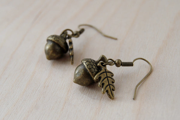 Brass Acorn Charm Earrings | Fall Acorn | Nature Jewelry | Woodland Acorn Earrings - Enchanted Leaves - Nature Jewelry - Unique Handmade Gifts