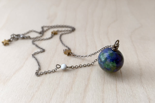 Earth & Moon Necklace | Gemstone Space Planet Necklace | Unique Science Pendant Necklace - Enchanted Leaves - Nature Jewelry - Unique Handmade Gifts