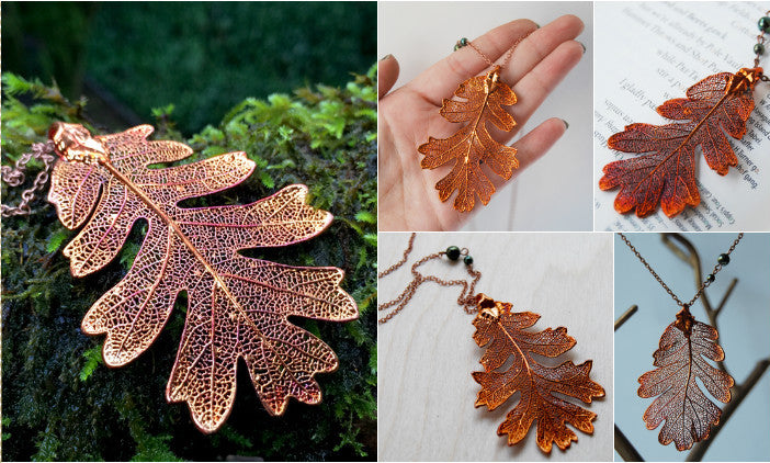 Large Fallen Copper Oak Leaf Necklace | REAL Oak Leaf Pendant | Electroformed | Nature Jewelry - Enchanted Leaves - Nature Jewelry - Unique Handmade Gifts