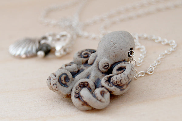 Grey Octopus Necklace | Handmade Ceramic Octopus Pendant | Nautical Jewelry - Enchanted Leaves - Nature Jewelry - Unique Handmade Gifts