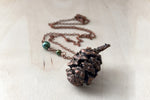 Copper Sequoia Pine Cone Necklace | Pinecone Jewelry | Electroformed Nature | Woodland Pine Cone Necklace - Enchanted Leaves - Nature Jewelry - Unique Handmade Gifts