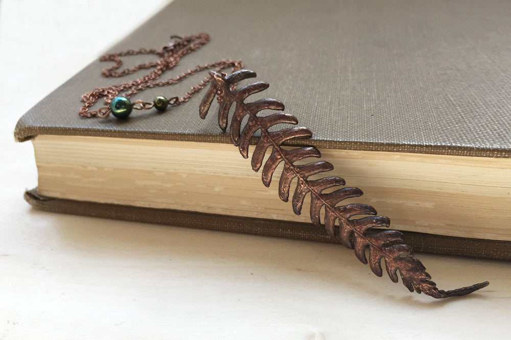 Copper Fern Necklace | Electroformed Nature | Real Fern Pendant | Woodland Jewelry *PREORDER ONLY* - Enchanted Leaves - Nature Jewelry - Unique Handmade Gifts