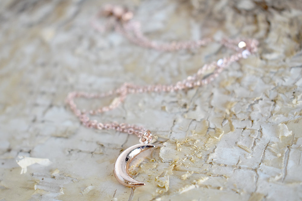 Rose Gold Moon Necklace | Crescent Moon Charm Jewelry | Simple and Elegant Charm Necklace - Enchanted Leaves - Nature Jewelry - Unique Handmade Gifts
