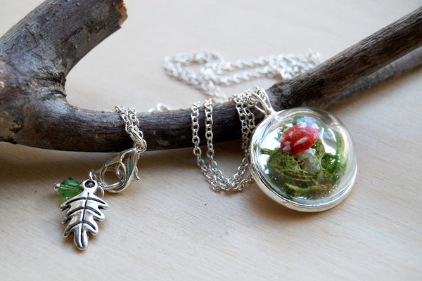 Small Mushroom Forest Terrarium Necklace | Toadstool Nature Pendant Necklace | Handmade Mushroom Jewelry - Enchanted Leaves - Nature Jewelry - Unique Handmade Gifts