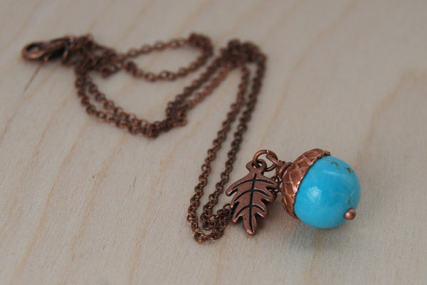 Turquoise and Copper Acorn Necklace - Enchanted Leaves - Nature Jewelry - Unique Handmade Gifts