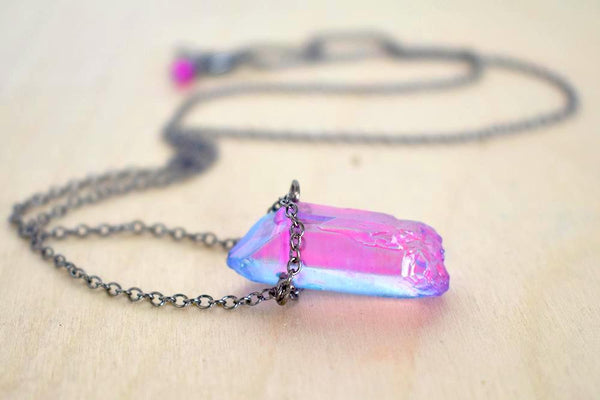 Unicorn Crystal Necklace | Pink and Blue Crystal Necklace | Magical Quartz Pendant - Enchanted Leaves - Nature Jewelry - Unique Handmade Gifts