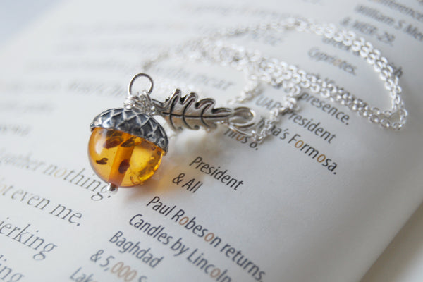 Amber and Silver Acorn Necklace | Nature Jewelry | Fall Acorn Charm Necklace - Enchanted Leaves - Nature Jewelry - Unique Handmade Gifts