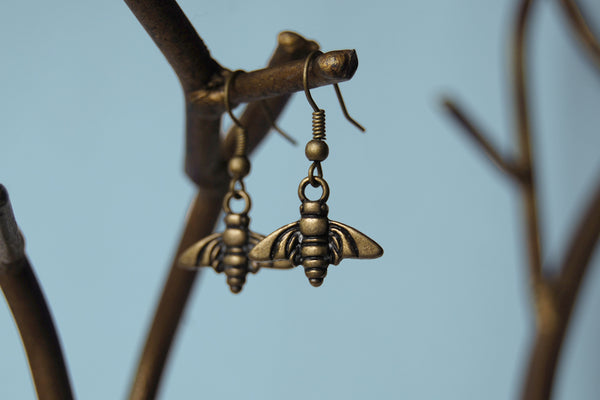 Brass Bee Earrings | Bee Charm Jewelry | Woodland Earrings - Enchanted Leaves - Nature Jewelry - Unique Handmade Gifts