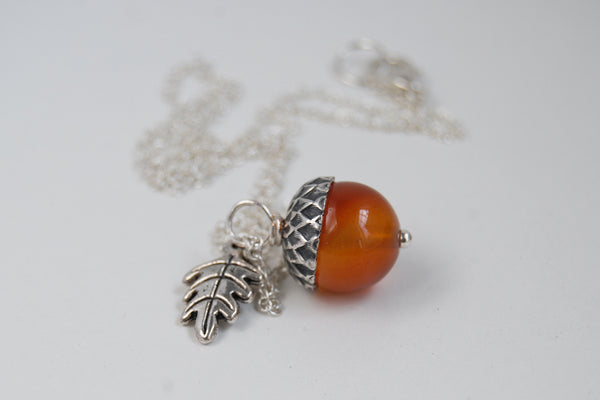 Carnelian and Silver Acorn Necklace | Gemstone Acorn Charm Necklace | Cute Autumn Necklace | Nature Jewelry - Enchanted Leaves - Nature Jewelry - Unique Handmade Gifts