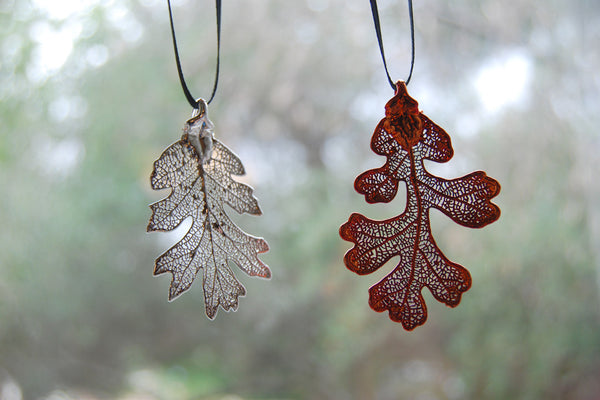 Real Oak Leaf Ornament  | Electroformed Nature | Fall Leaf Ornament | Nature Gift - Enchanted Leaves - Nature Jewelry - Unique Handmade Gifts
